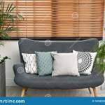 Stylish Decorative Pillows On Grey Couch Indoors Stock Image Image Of Comfortable Furniture 169583203