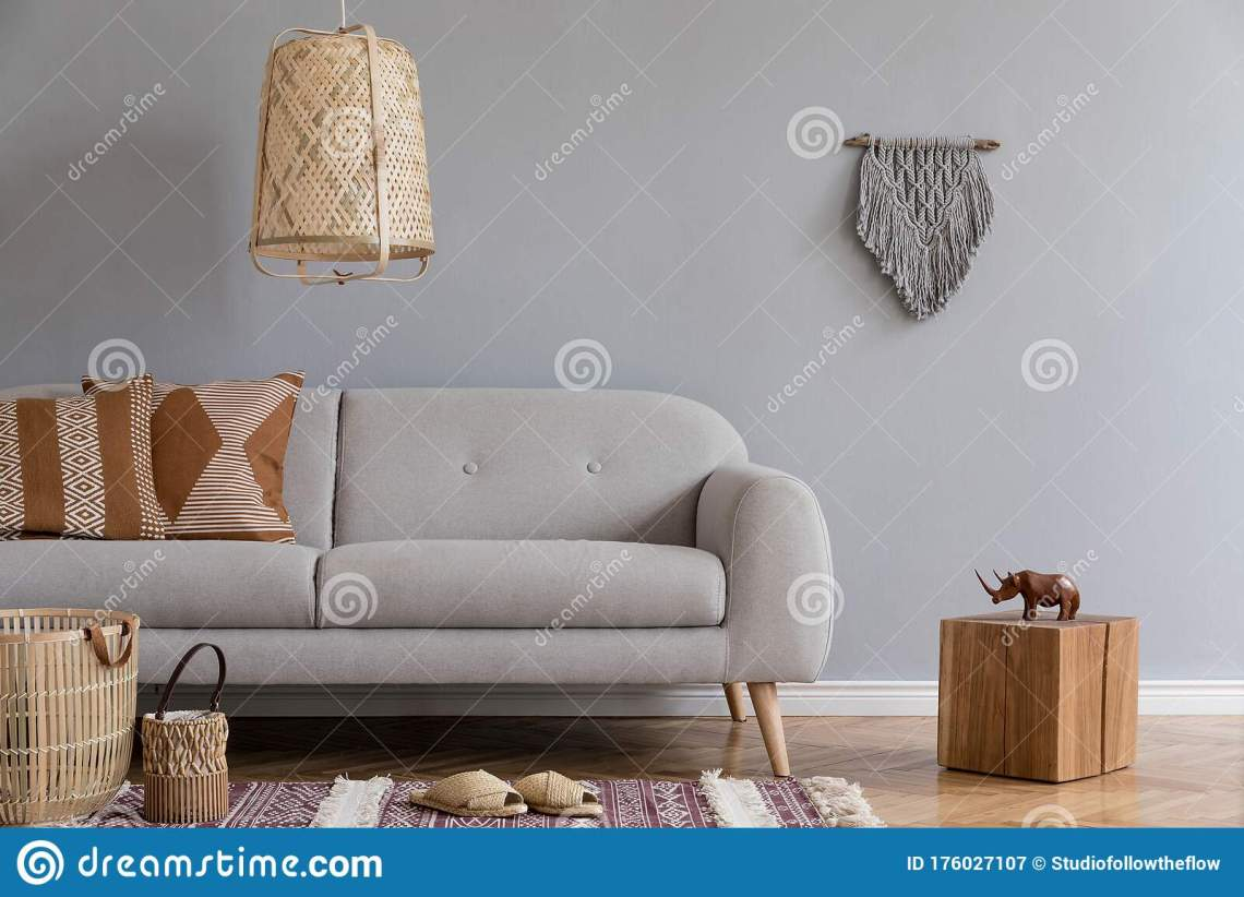 Boho Living Room With Grey Sofa And Natural Accessories Cosy Home Decor Stock Image Image Of Decor Accessories 176027107
