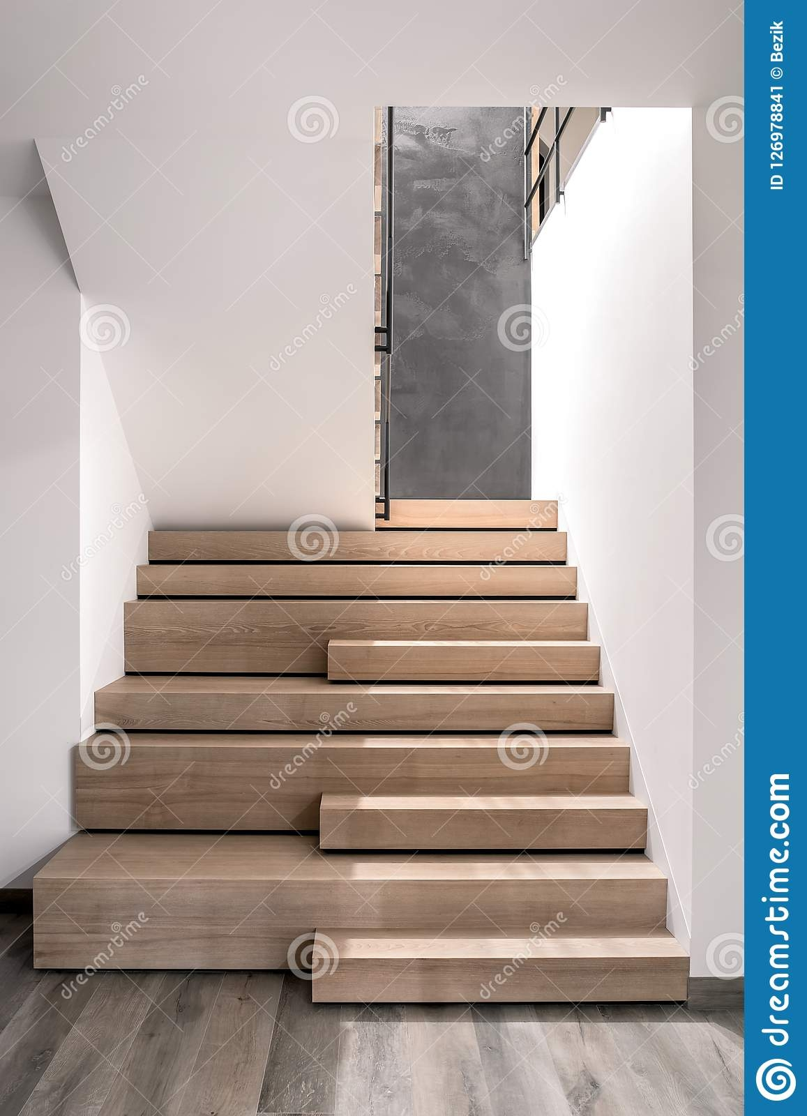 Stylish Interior In Modern Style With Wooden Stair Stock Image   White And Dark Wood Stairs   Medium Dark   Foyer   Stair Railing   Indoor   Traditional