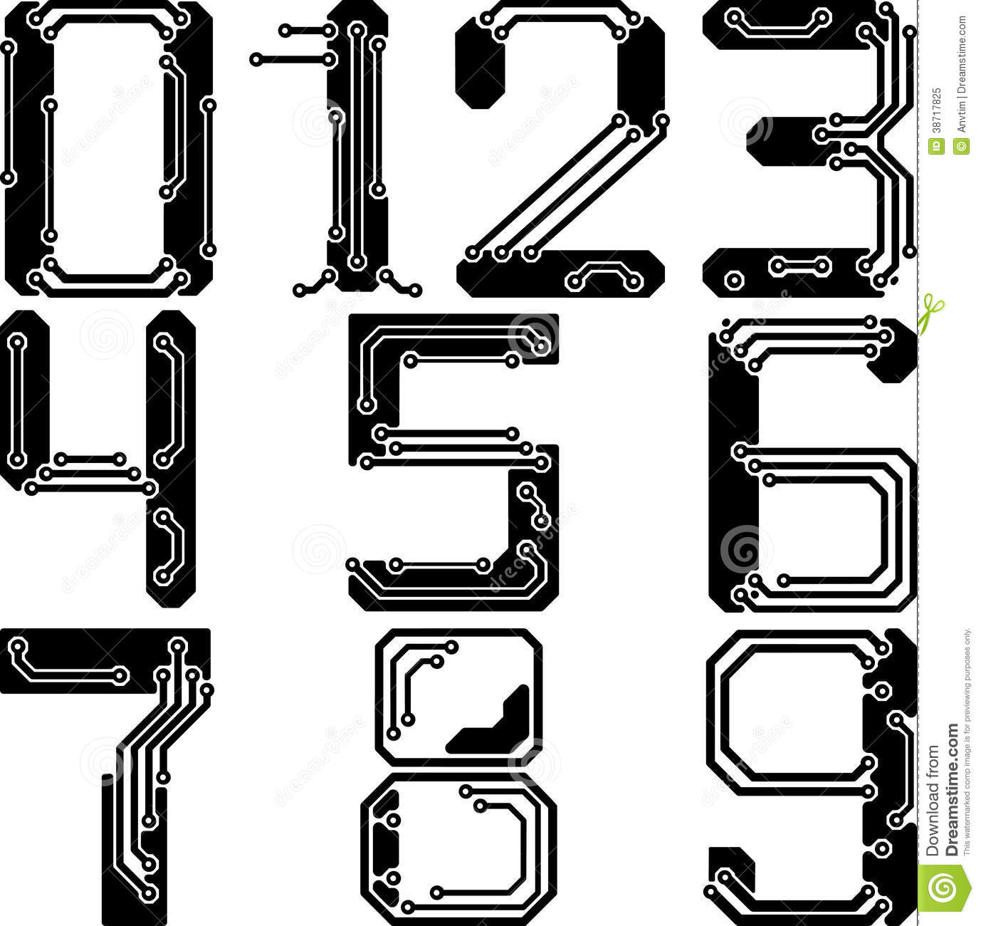 Stylish Pcb Electric Wires Numbers Stock Vector