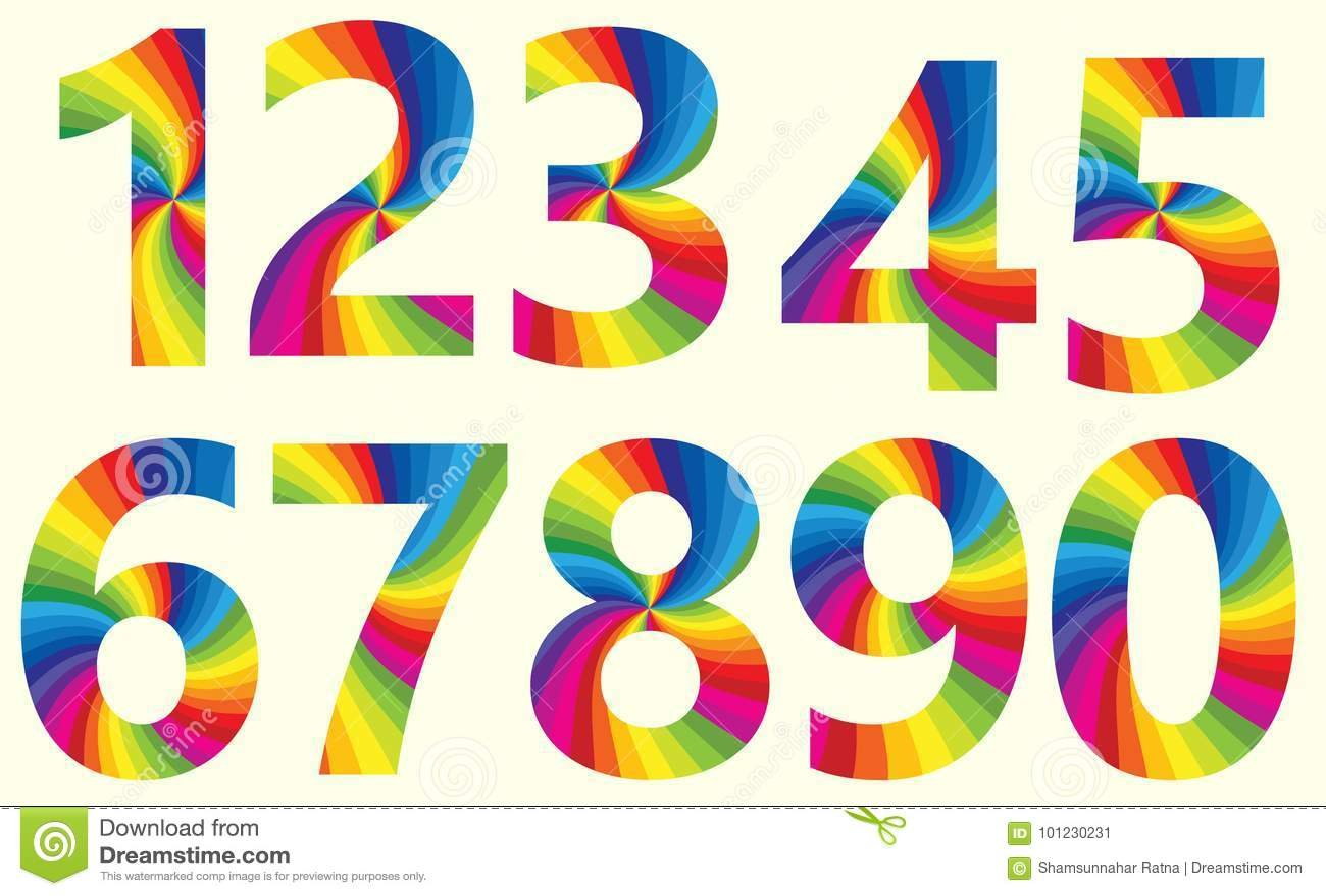 Stylish Rainbow Number 1 To 10 Stock Vector