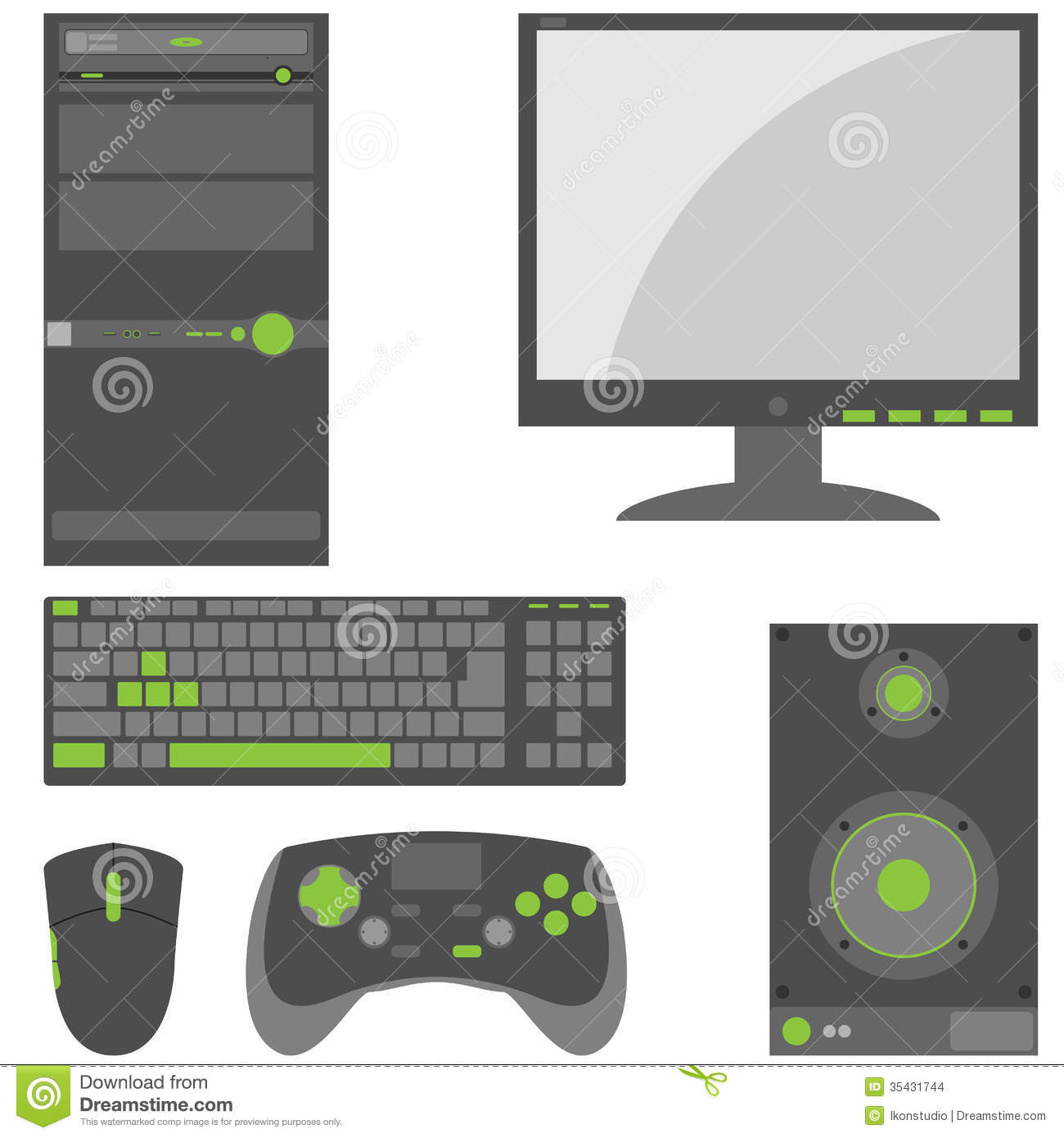 Stylish Simple External Computer Parts Stock Vector