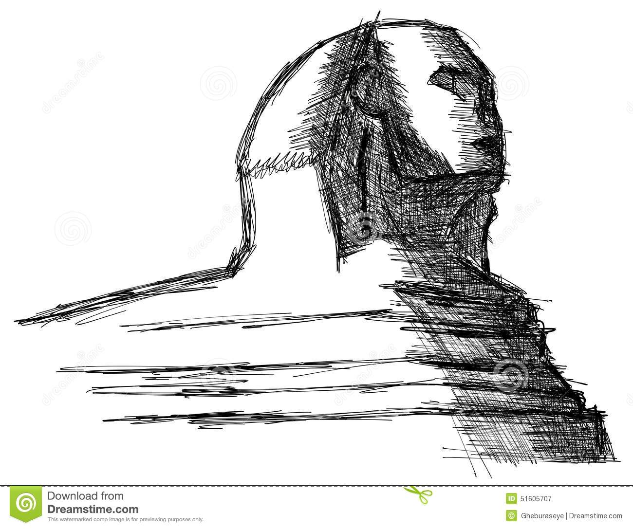 Stylized Sketch Of The Sphinx Isolated Stock Photo