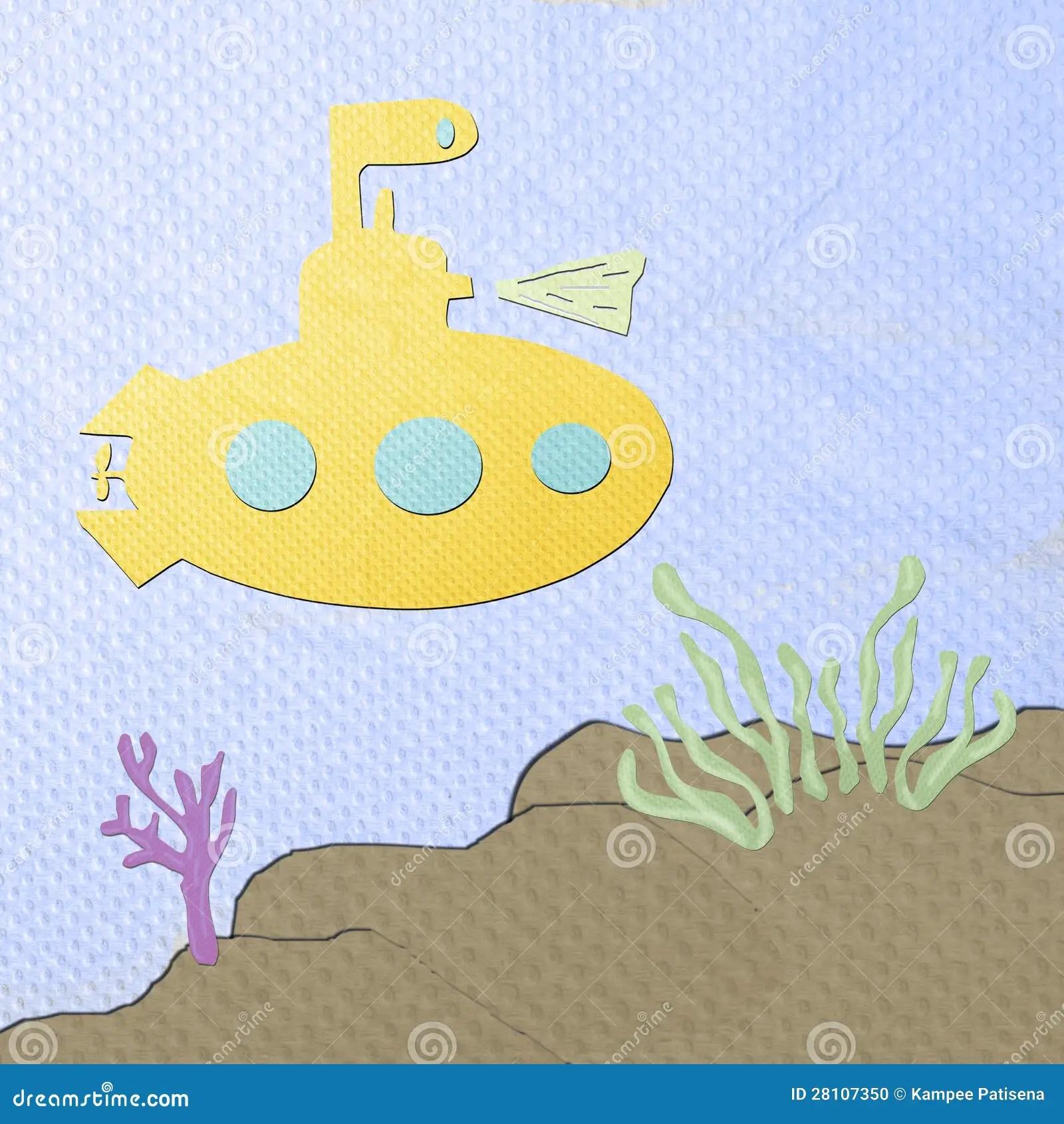 Submarine Cartoon Made From Tissue Papercraft Stock Photo