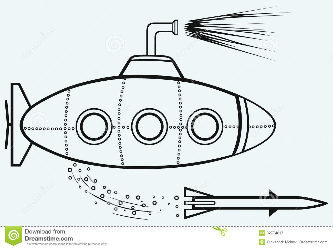 Submarine Stock Vector Illustration Of Cutout Nautical