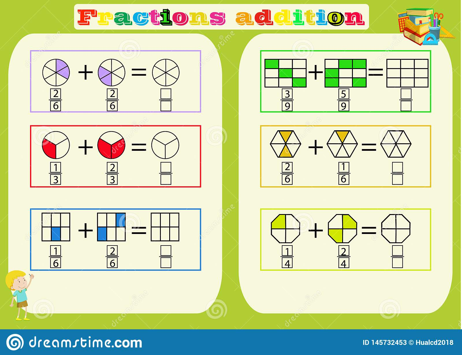 Subtracting Fractions Mathematical Worksheet Triangles