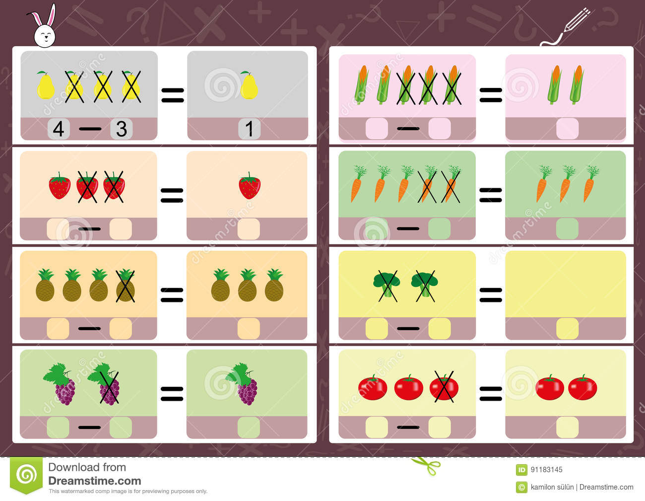 Subtracting Using Pictures Math Worksheet For Kids Stock
