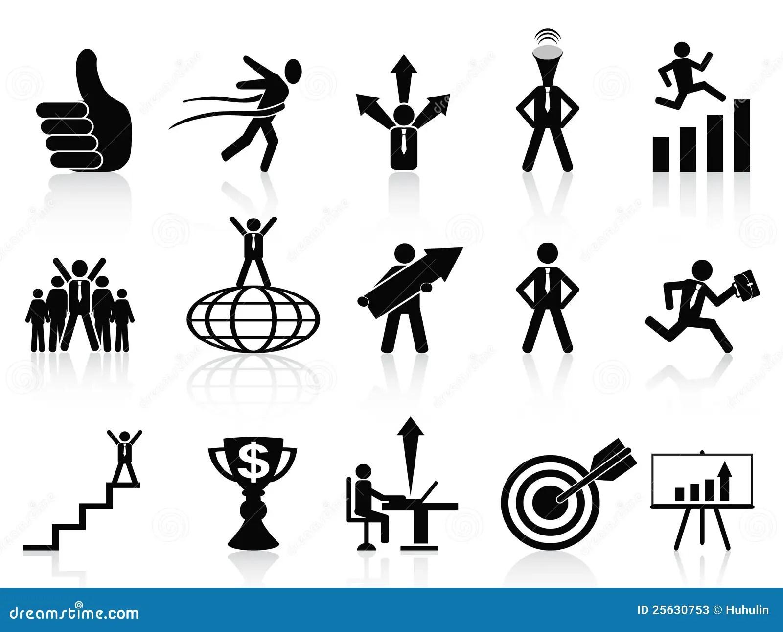 Success Business Icons Set Stock Photos