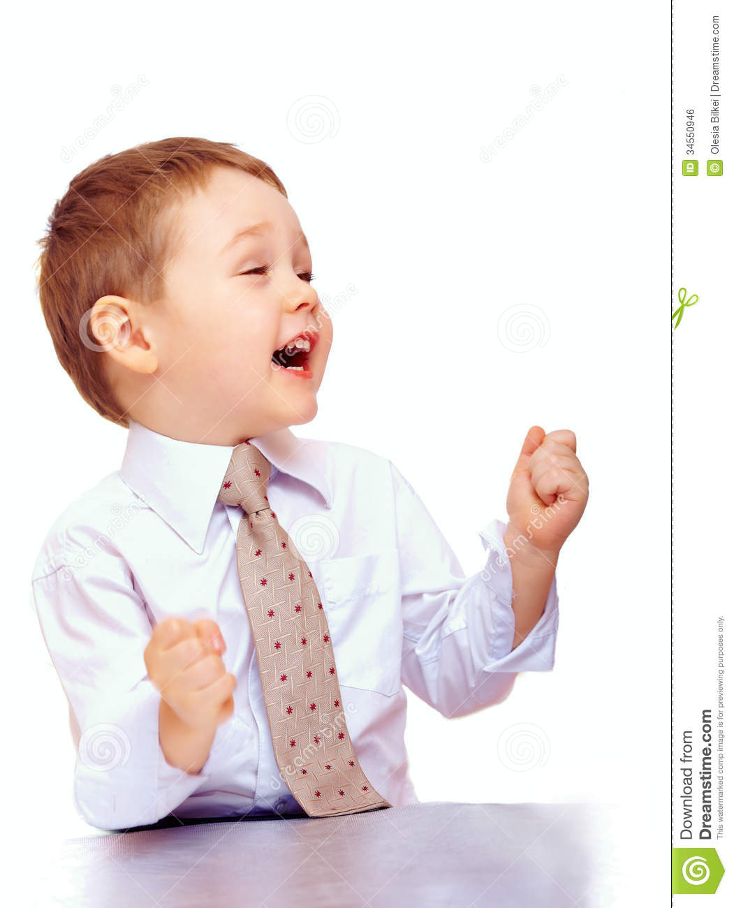 Successful Business Child Expressing Positivity Stock