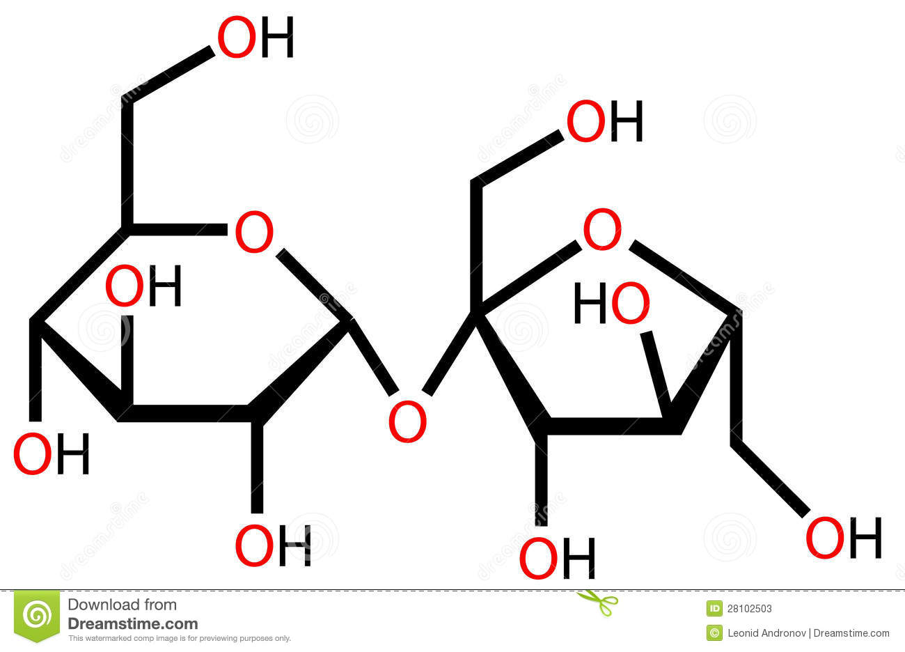 Sucrose Molecule With Chemical Formula Stock Image