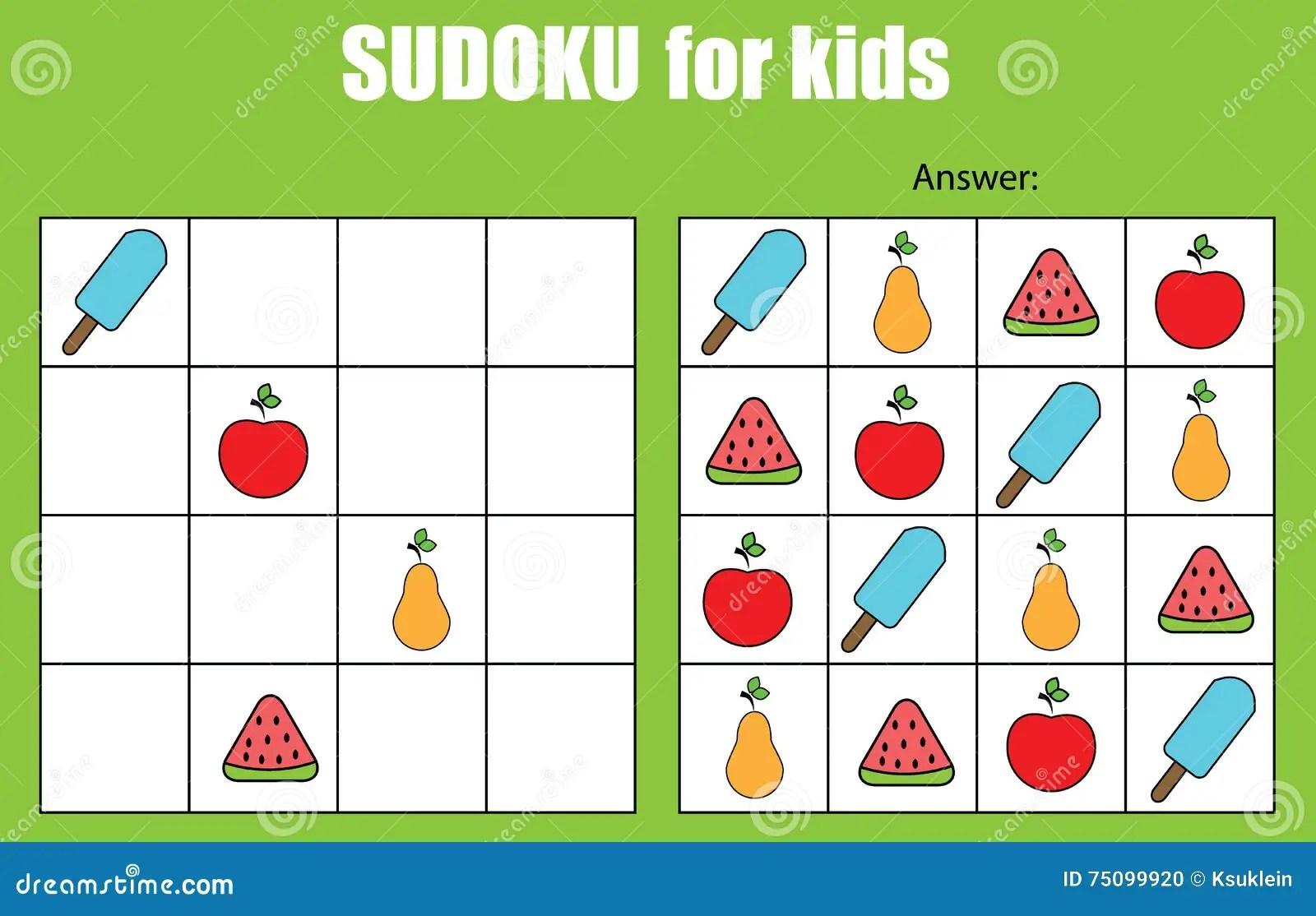 Sudoku Game For Children Kids Activity Sheet Stock Vector