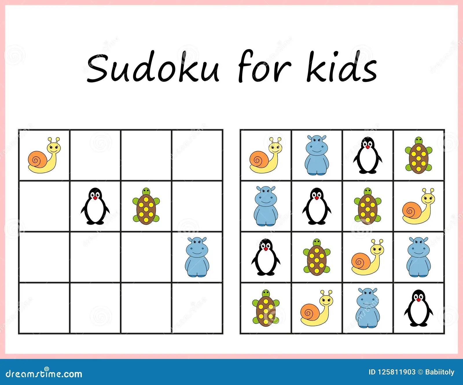 Sudoku Para Los Cabritos Juego Para Los Ninos Preescolares Logica De Entrenamiento Hoja De