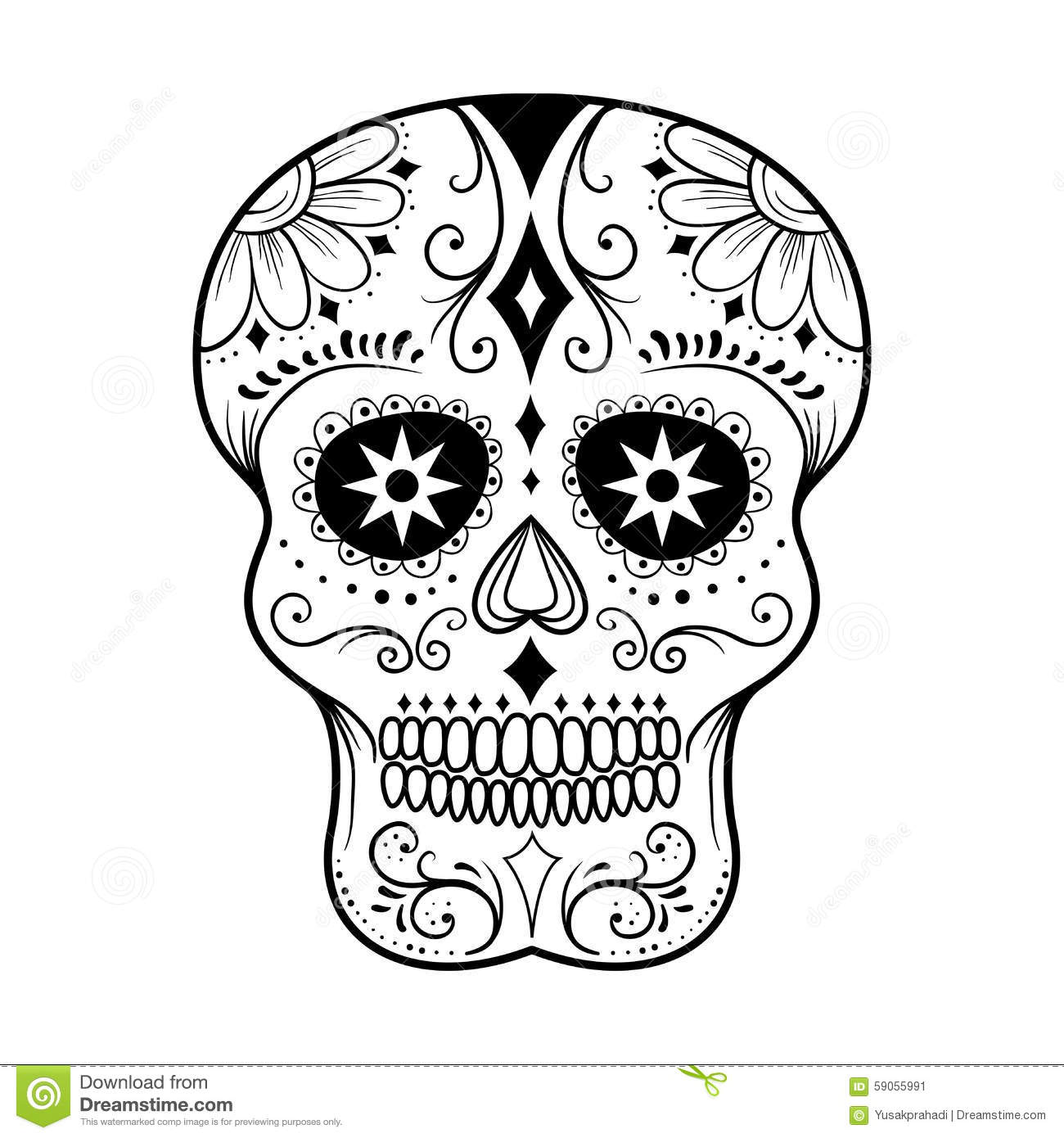 Sugar Skull Line Art Vektor Illustrationer Illustration