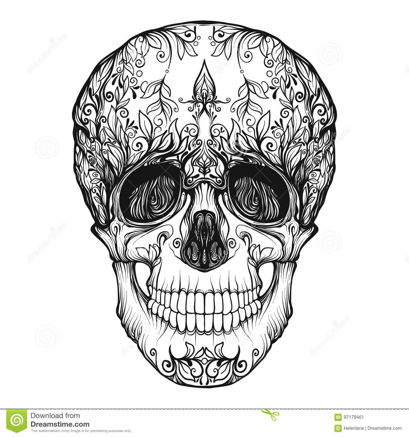 Sugar Skull The Traditional Symbol Of The Day Of The Dead Stock Vector Illustration Of Gothic Human 97179461