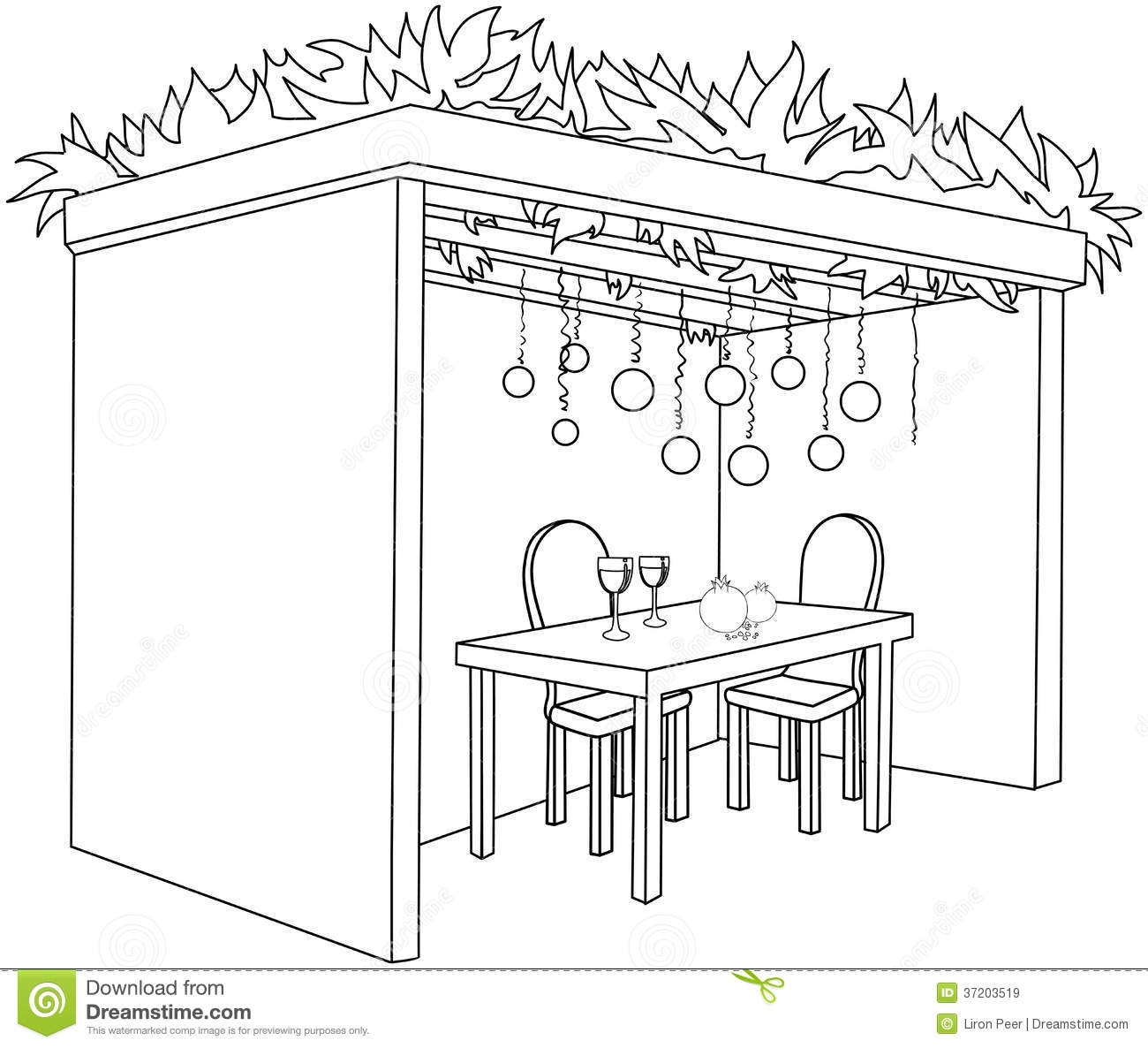 Sukkah For Sukkot With Table Coloring Page Royalty Free