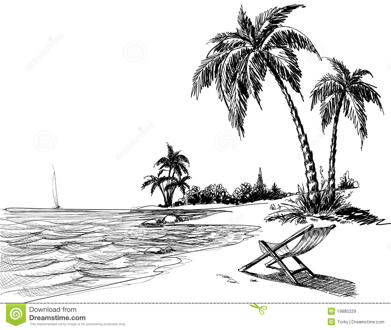 Summer Beach Pencil Drawing Royalty Free Stock Images