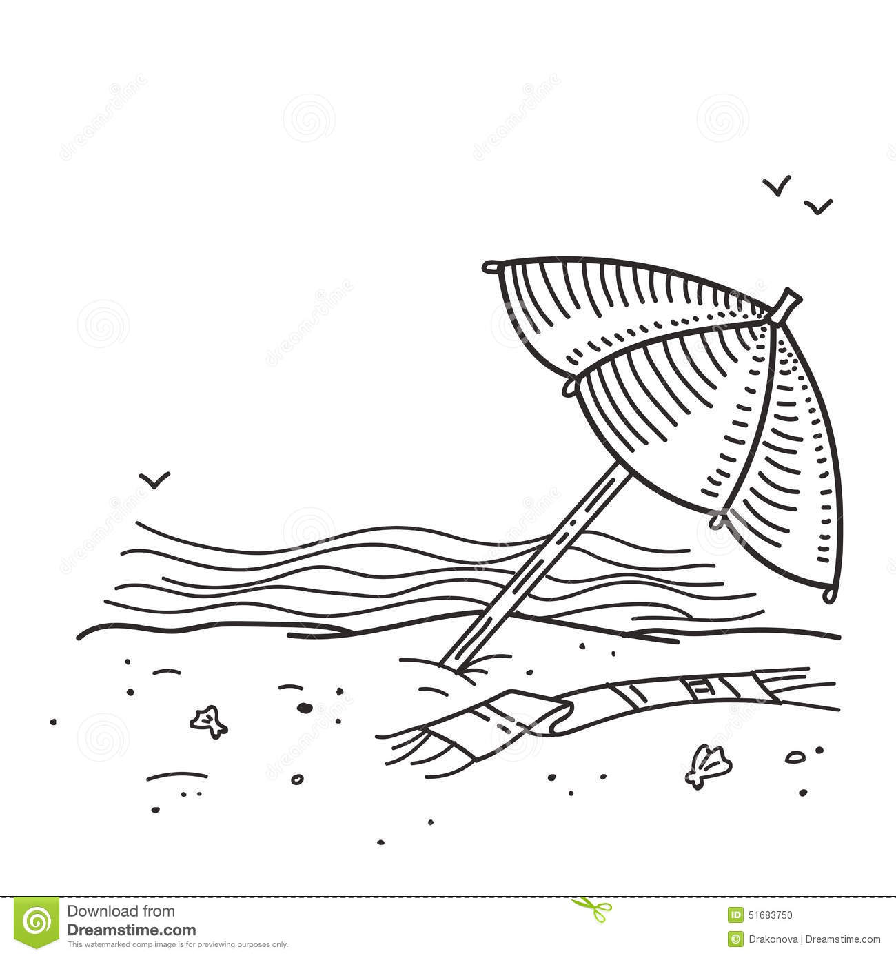 Summer Beach Sketch Stock Vector Image Of Beach Drawn