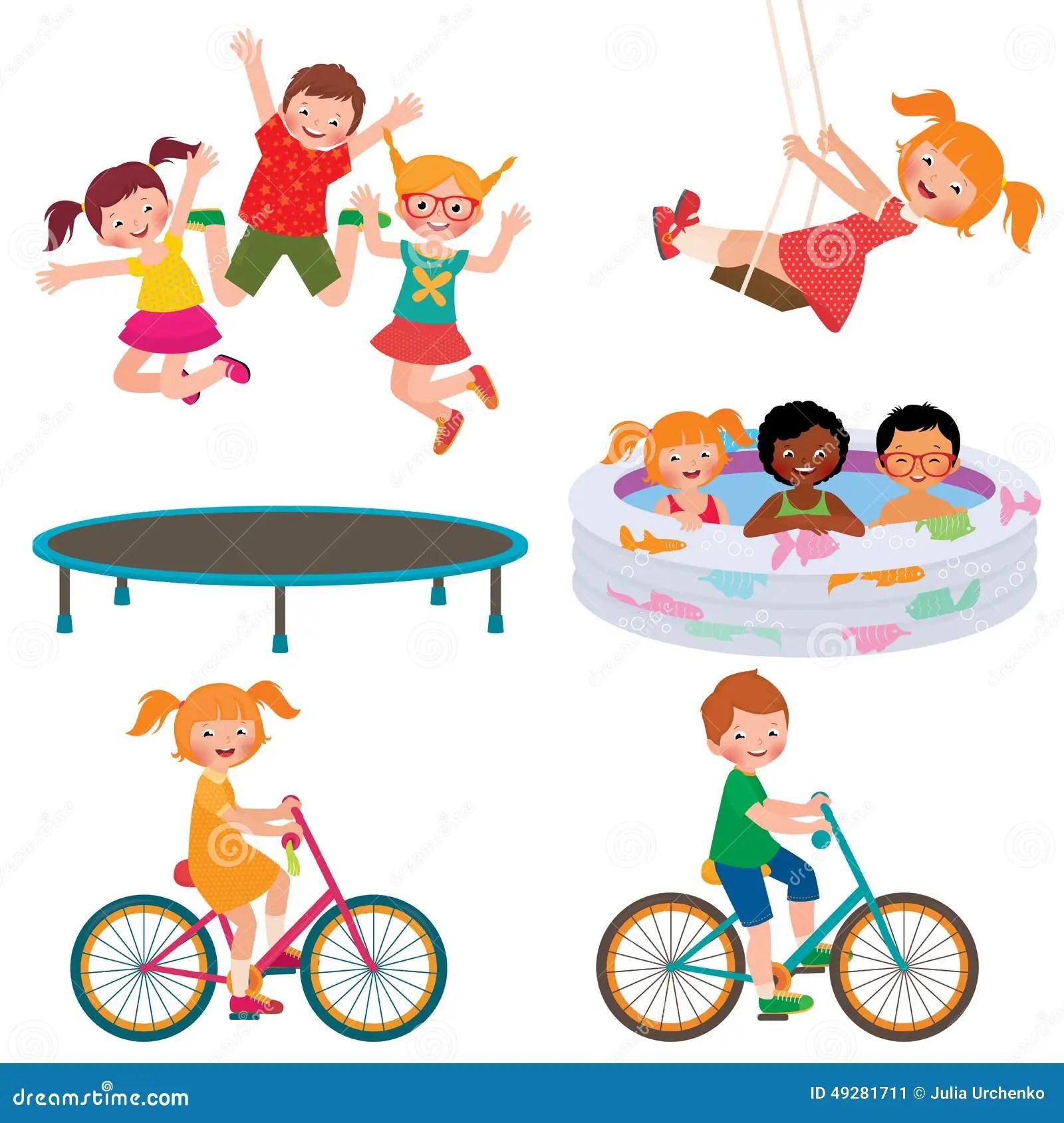 Summer Children Activities Stock Vector Illustration Of