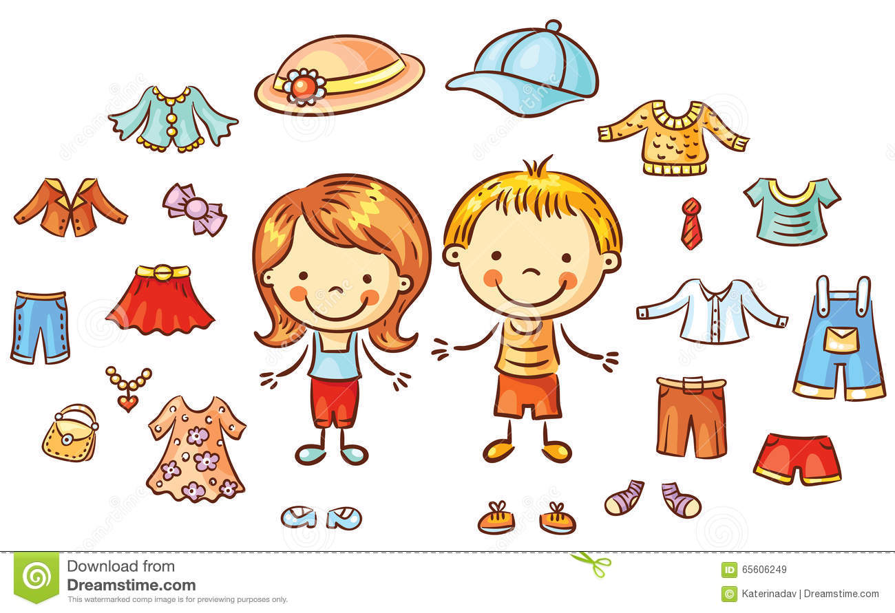 Summer Clothes Set For A Boy And A Girl Items Can Be Put