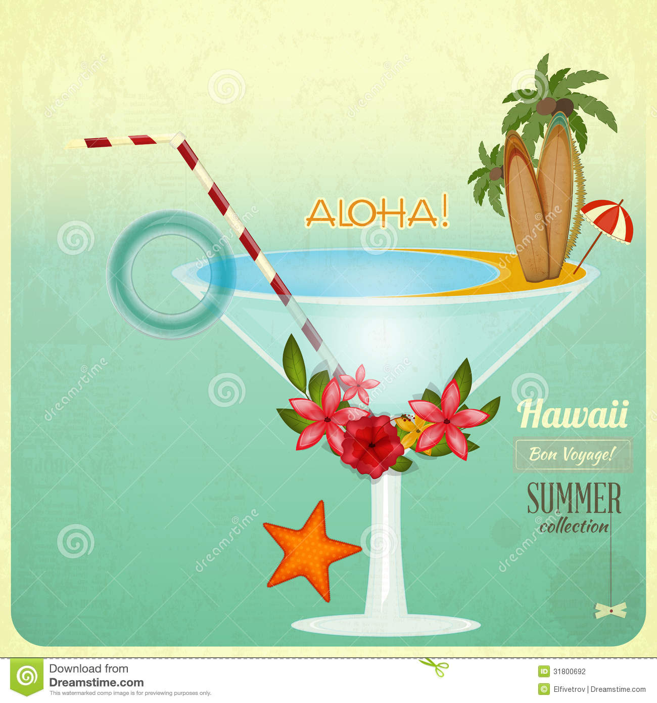 Summer Cocktail Card In Retro Style Stock Illustration