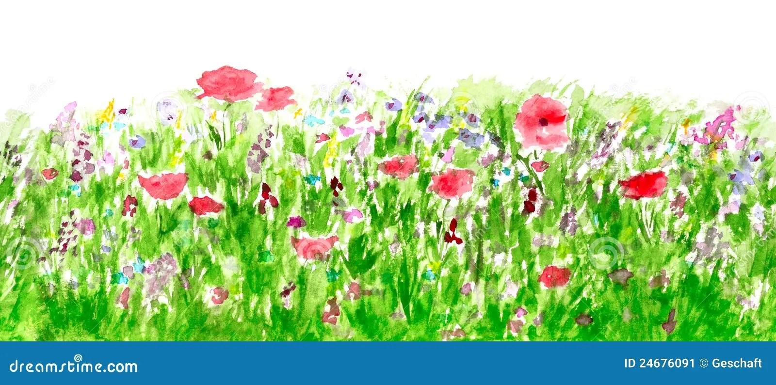 Corner Watercolor Floral Border