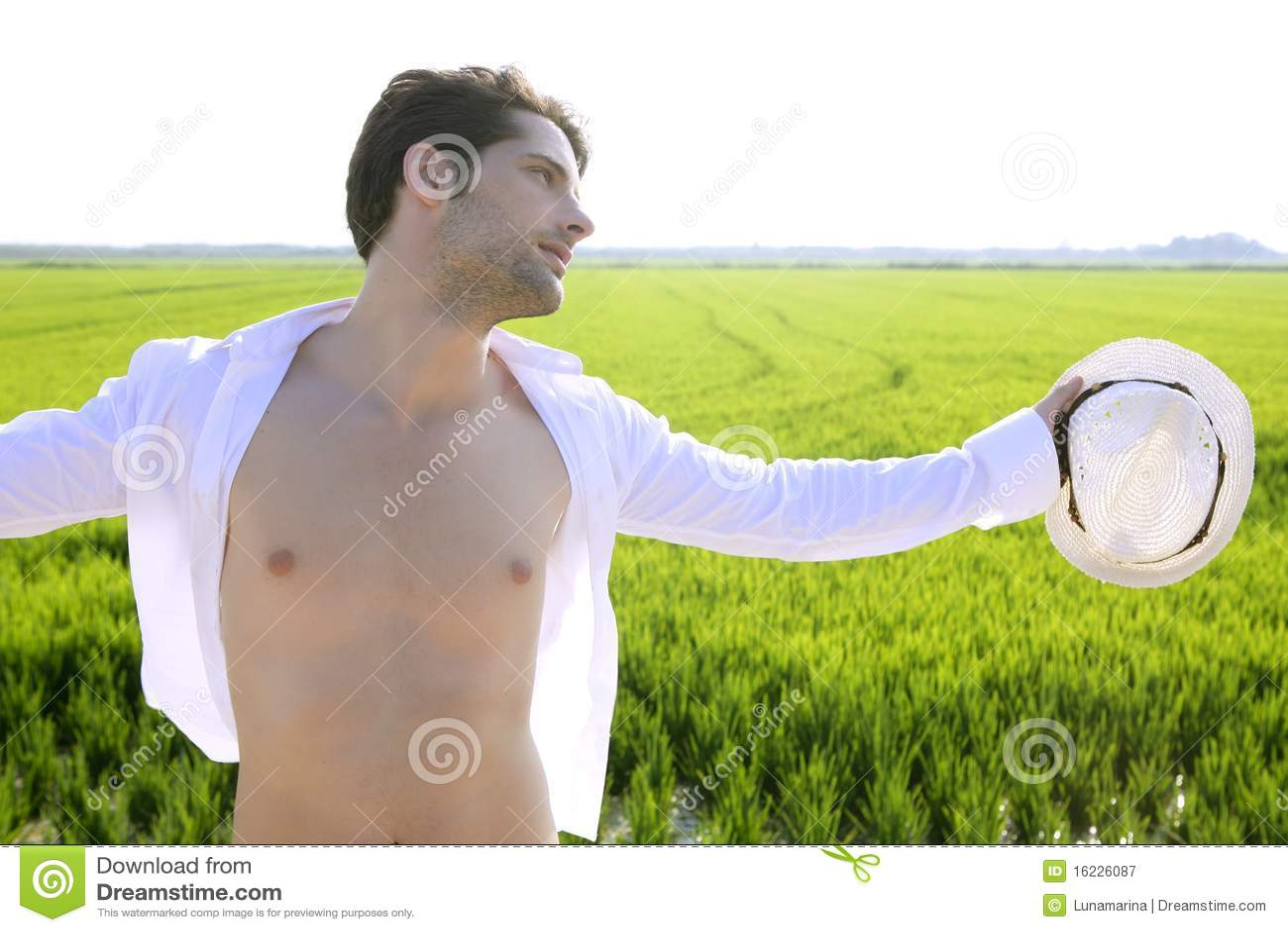 Summer Man Open Shirt Outdoor Meadow Stock Image Image
