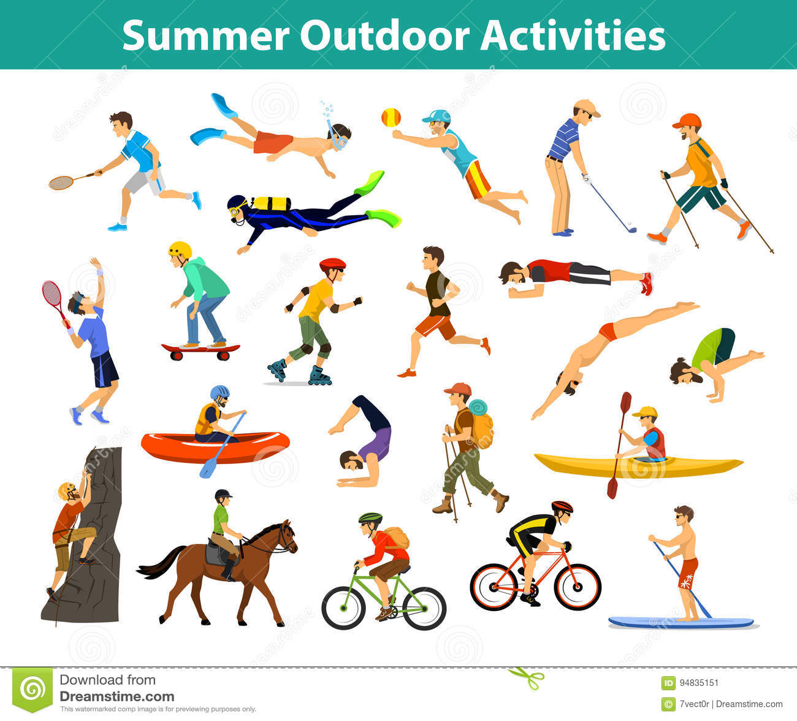 Summer Outdoor Sports And Activities Stock Vector