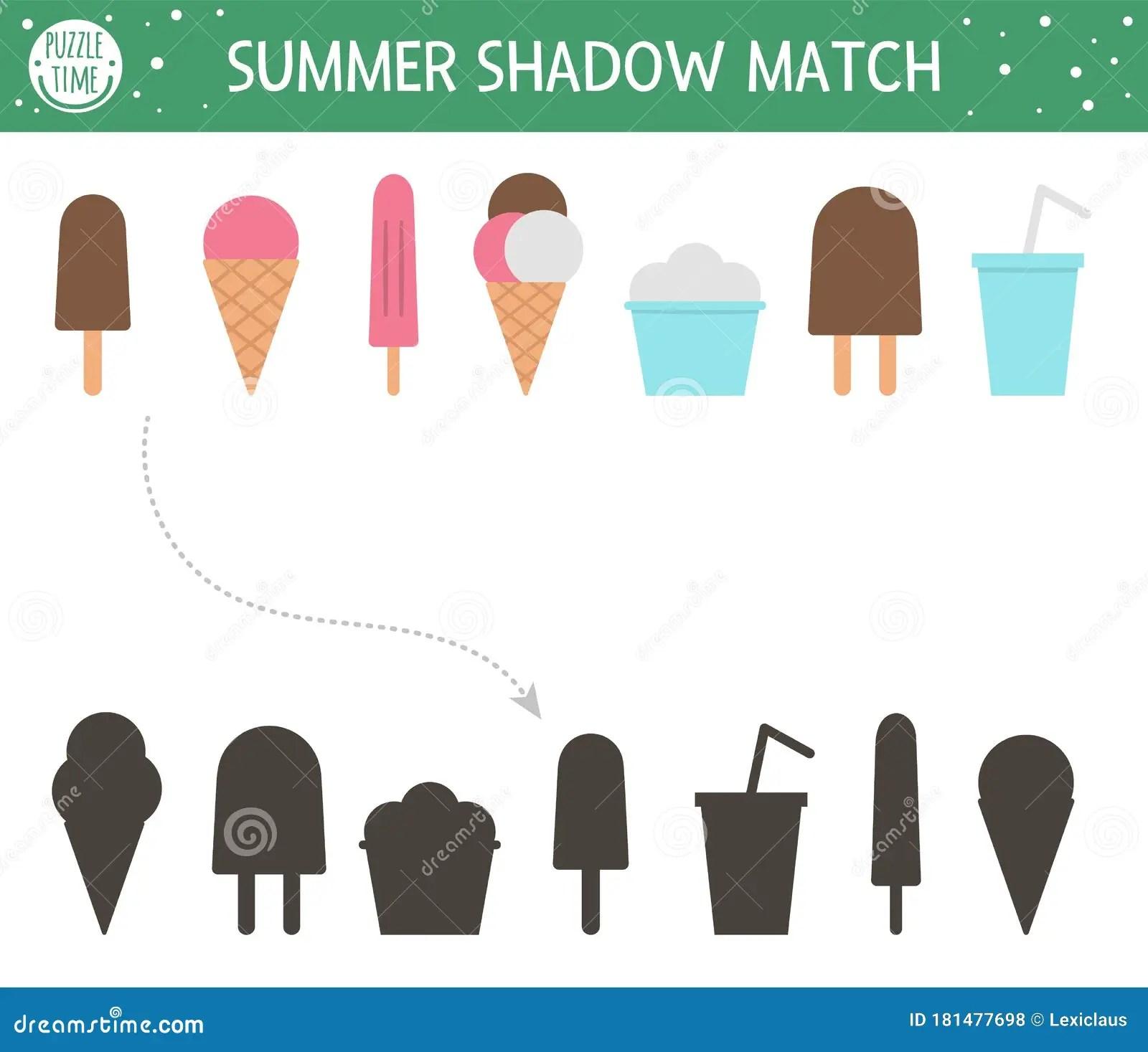 Summer Shadow Matching Activity For Children Preschool