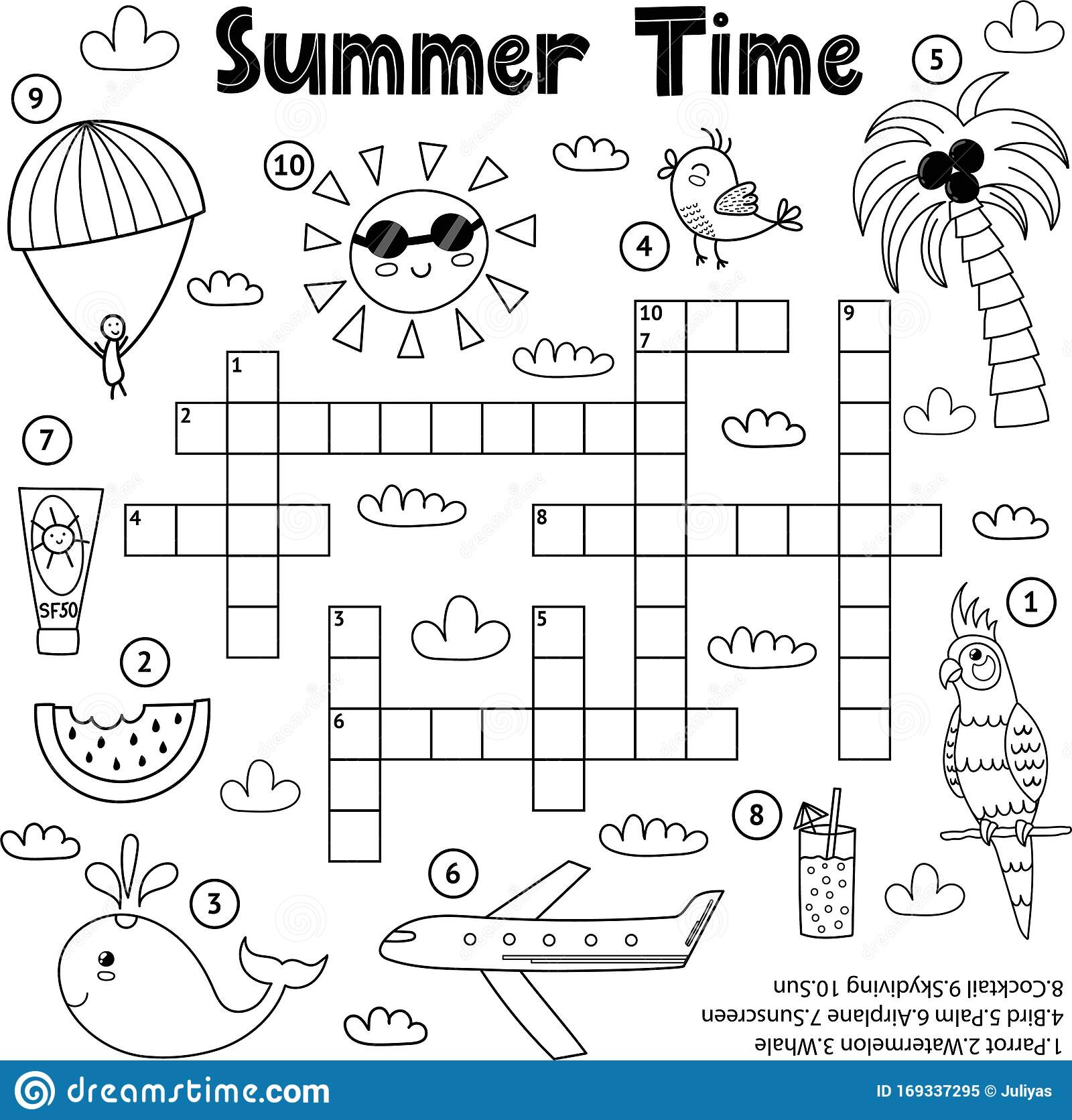 Summer Time Black And White Crossword Game Stock Vector