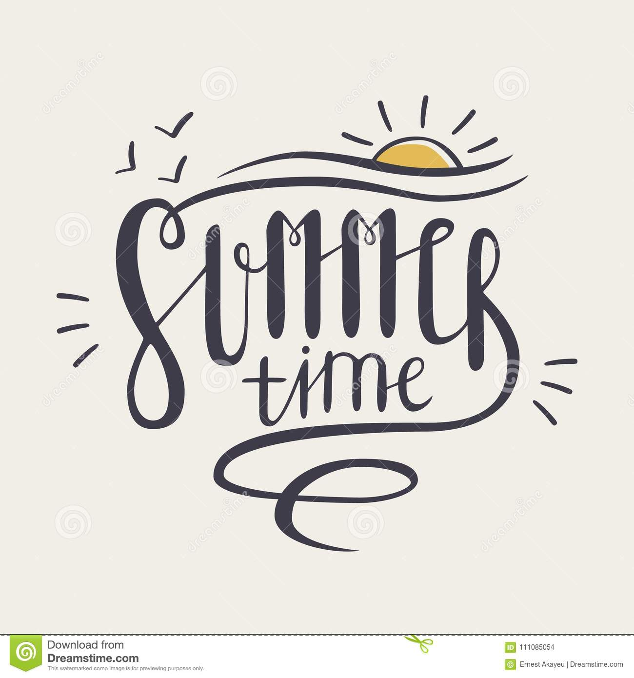 Summer Time Inscription Or Lettering Written With Creative