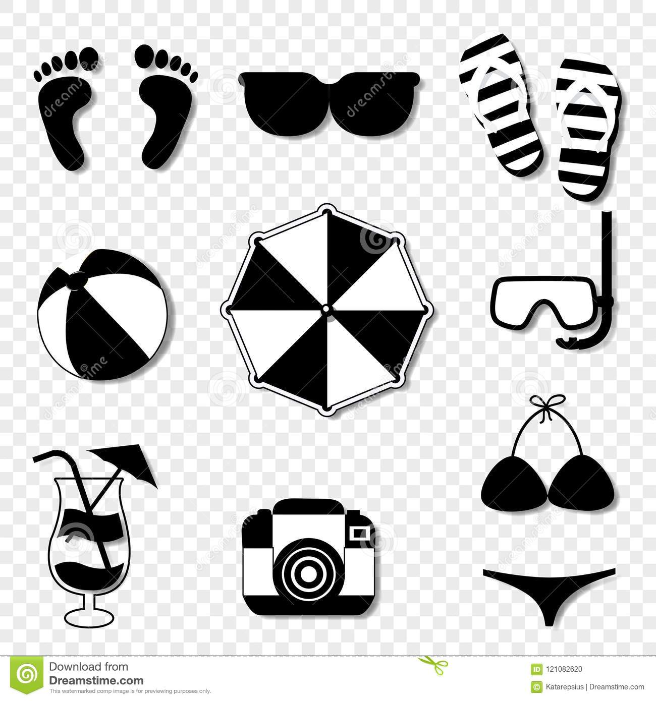 Summer Travel Beach Icon Set Isolated On Transparent