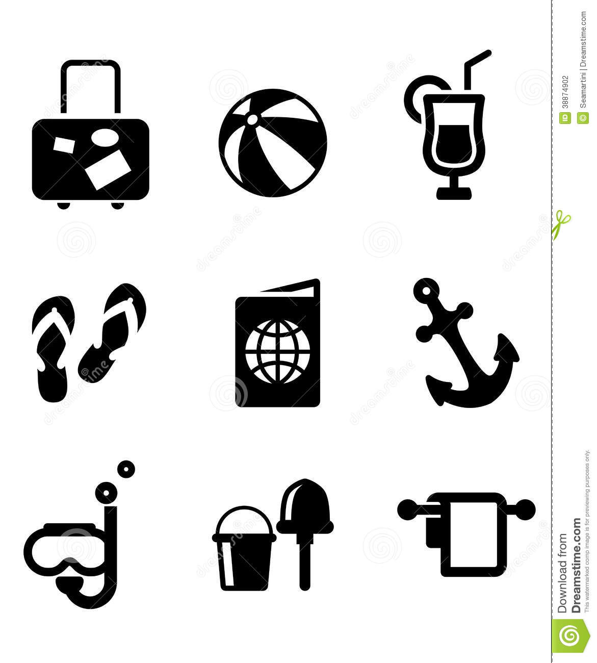 Summer Vacation And Travel Icons Stock Vector