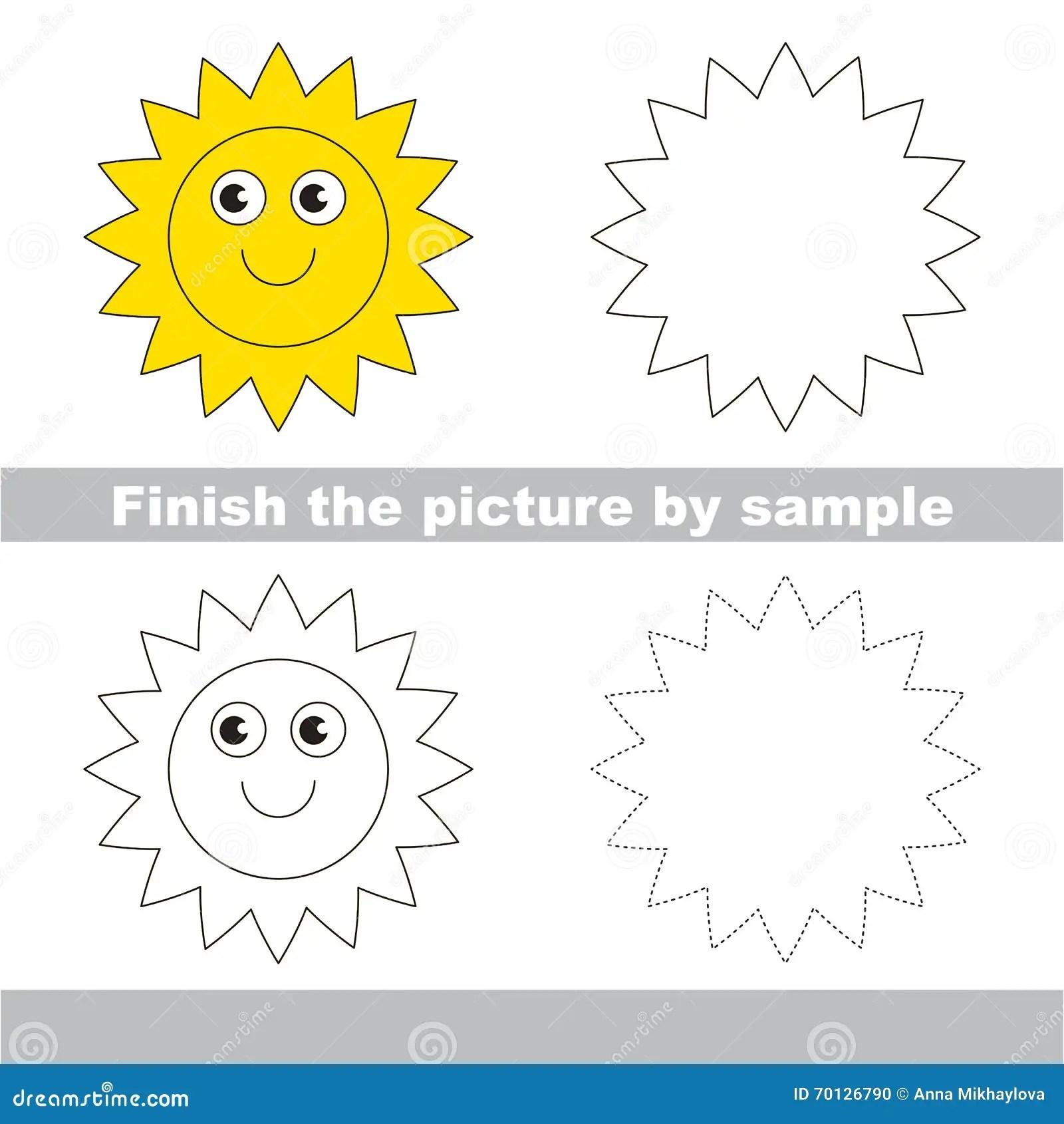 Sun Fiche De Travail De Dessin Illustration De Vecteur