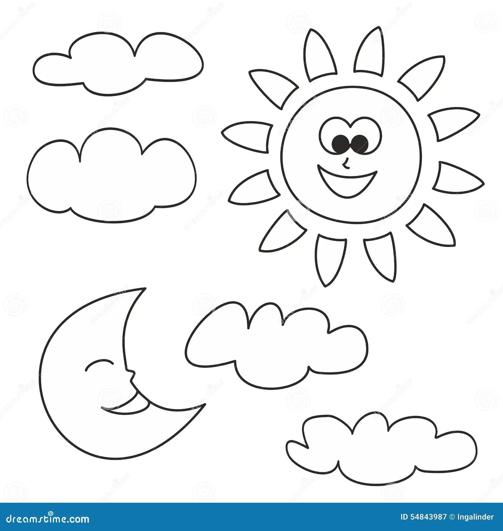 Sun A Lua E As Nuvens Vector Os Icones Isolados No Fundo