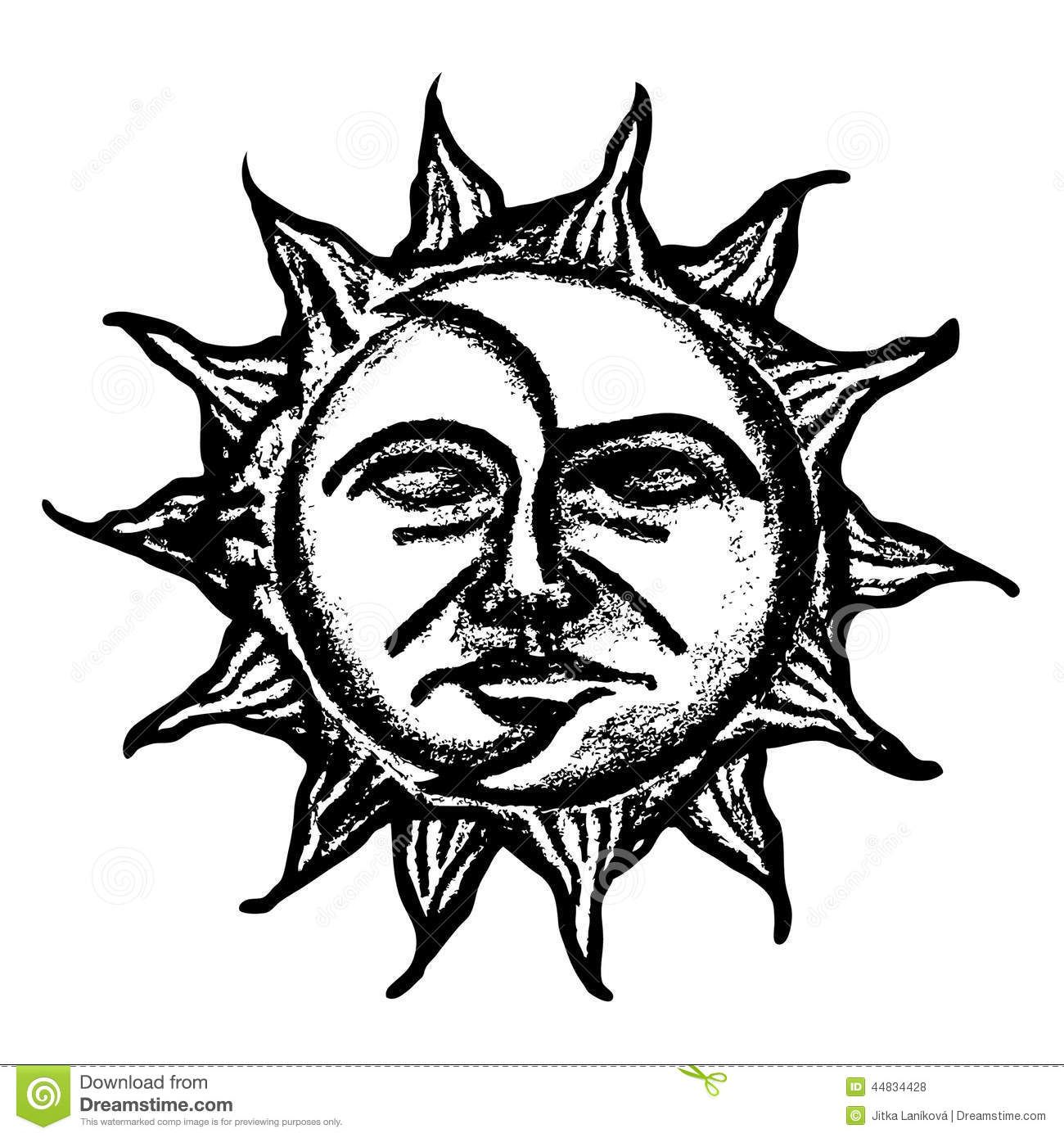 Sun And Moon Face Sketch Stock Illustration Image Of Face