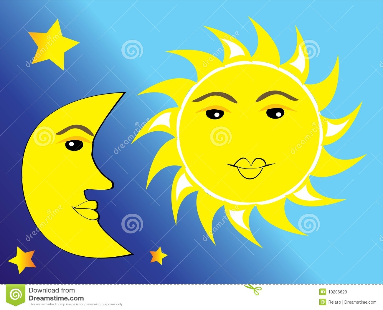Sun Moon And Stars Stock Vector Illustration Of Bright
