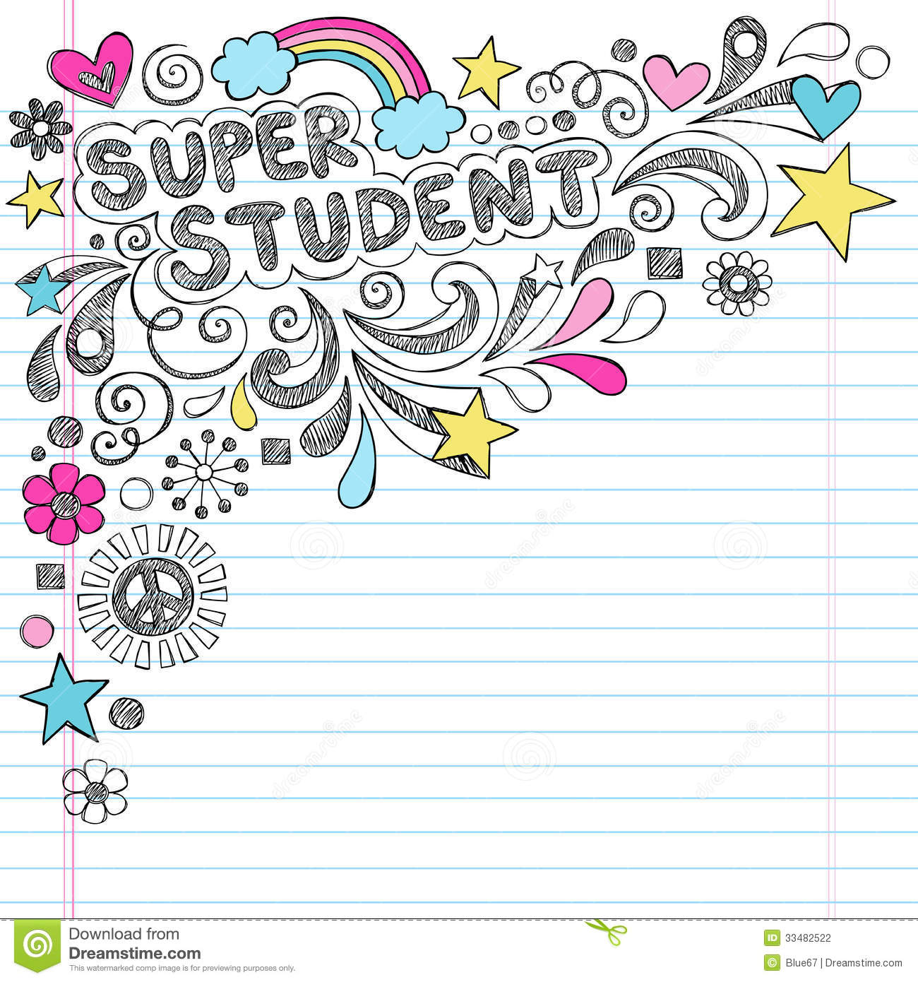 Super Student Back To School Sketchy Doodles Vecto Stock