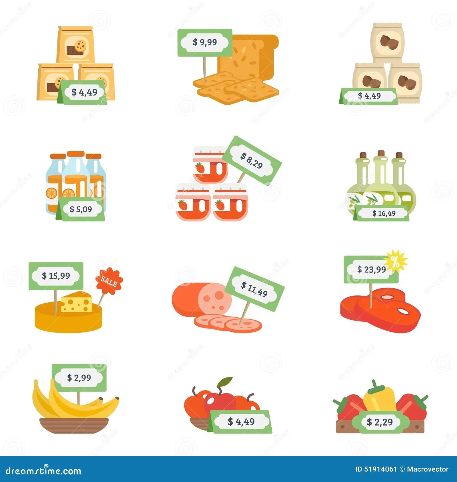 Supermarket Icons Set Stock Vector Illustration Of Fresh