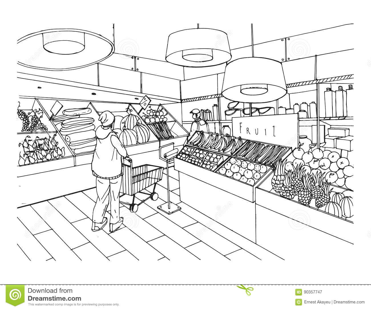 Groceries Clip Art Grocery Store Coloring Pages