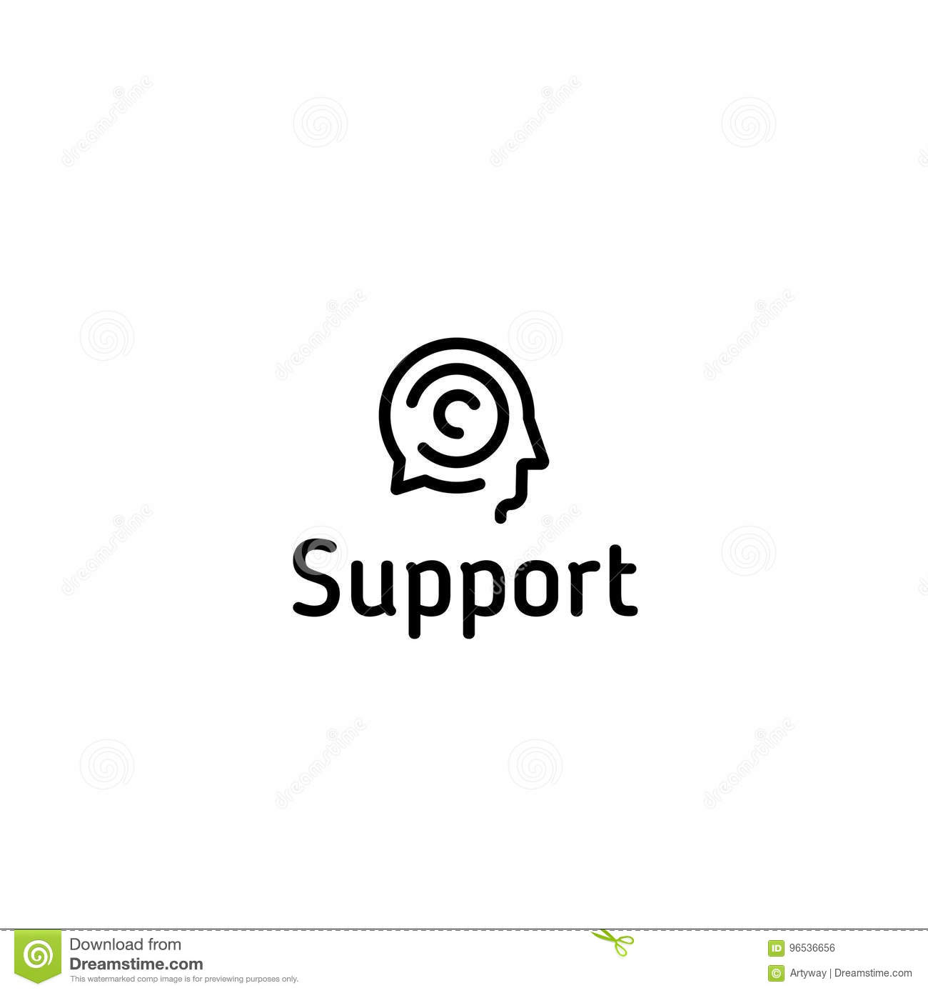 Support Vector Logo Linear Speech Chat Icon Brain Storm