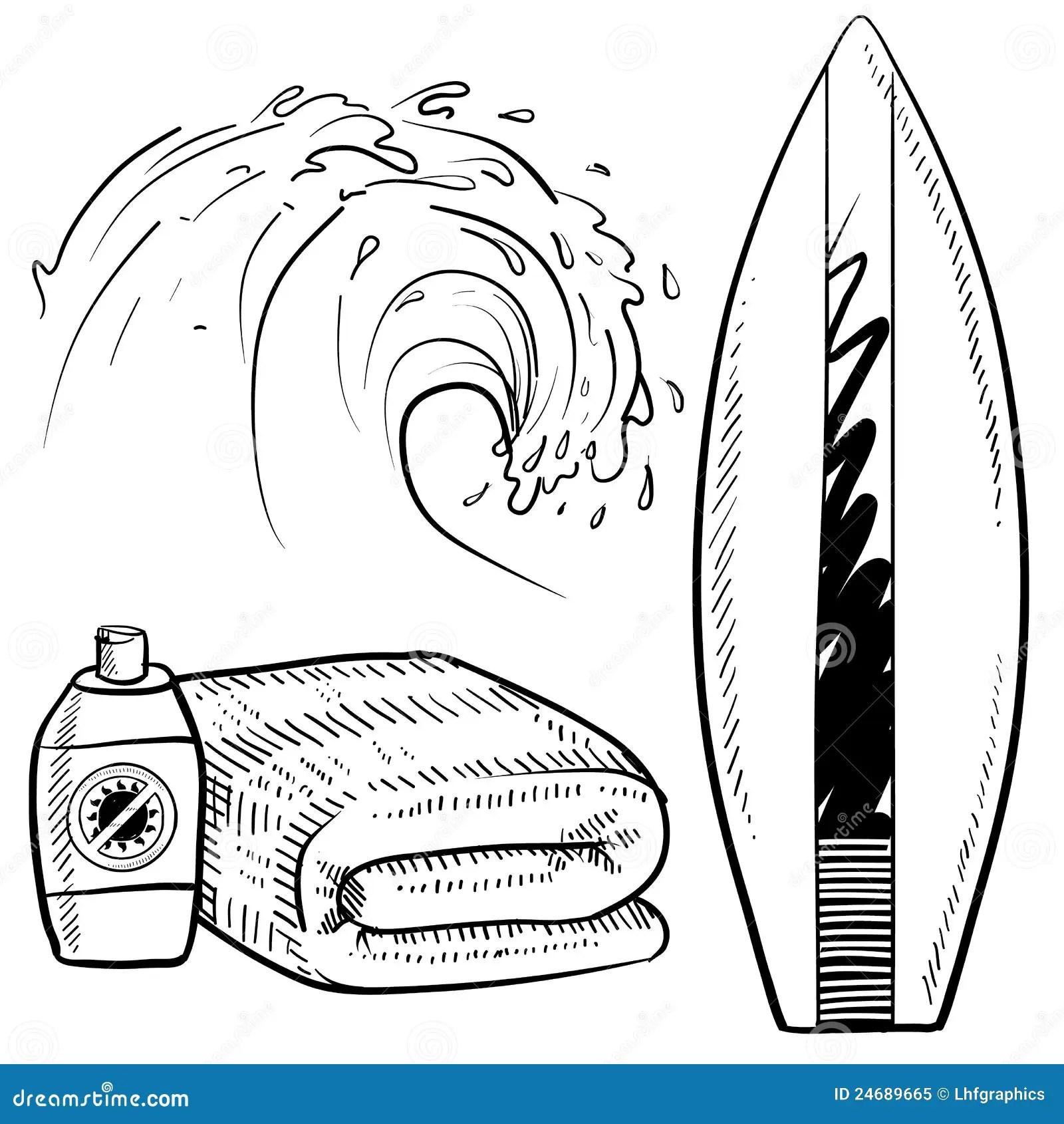Surfing Equipment Sketch Stock Vector Illustration Of