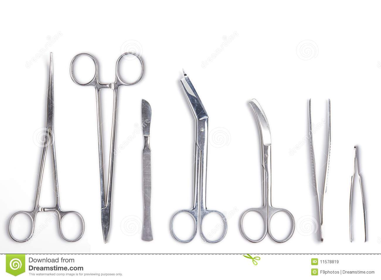 Surgical Tools Isolated On White Stock Image