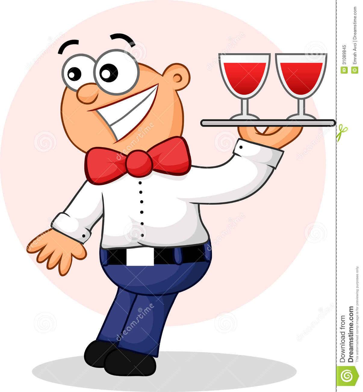 Stock Photo Surprised Waiter Cartoon Image