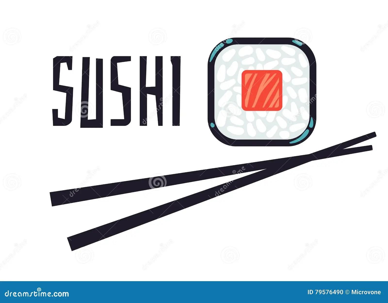 Sushi Restaurant Logo Template Cartoon Vector