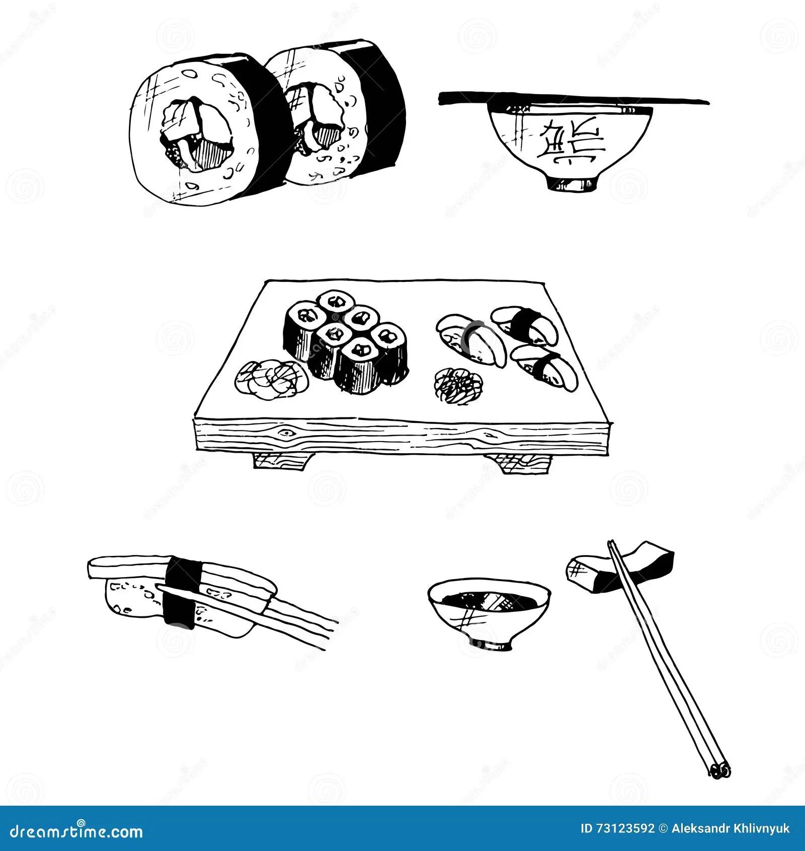 Sushi And Rolls Stock Illustration Image Of Free Black