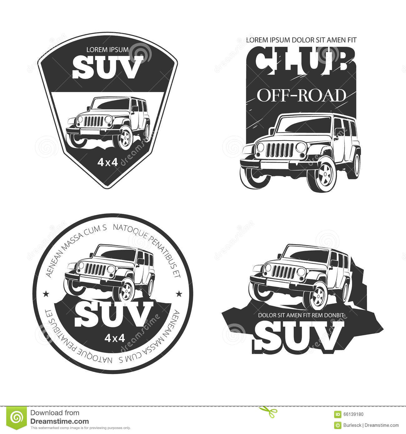 Suv Car Vector Emblems Labels And Logos Stock Vector