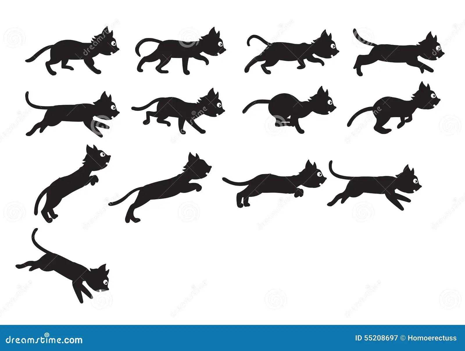 Svarta Cat Jumping Sprite Vektor Illustrationer