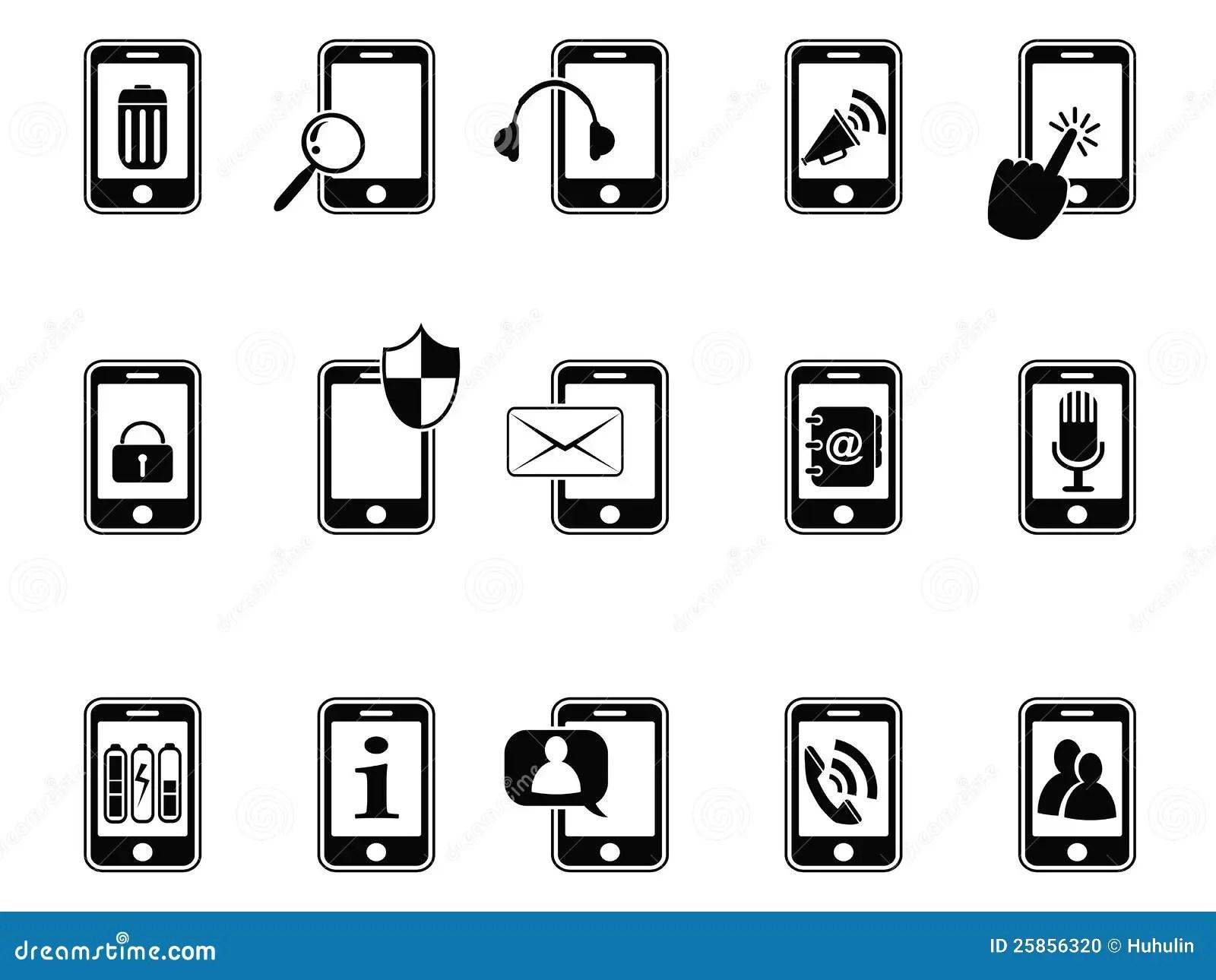 Svarta Symboler For Mobil Telefon Vektor Illustrationer