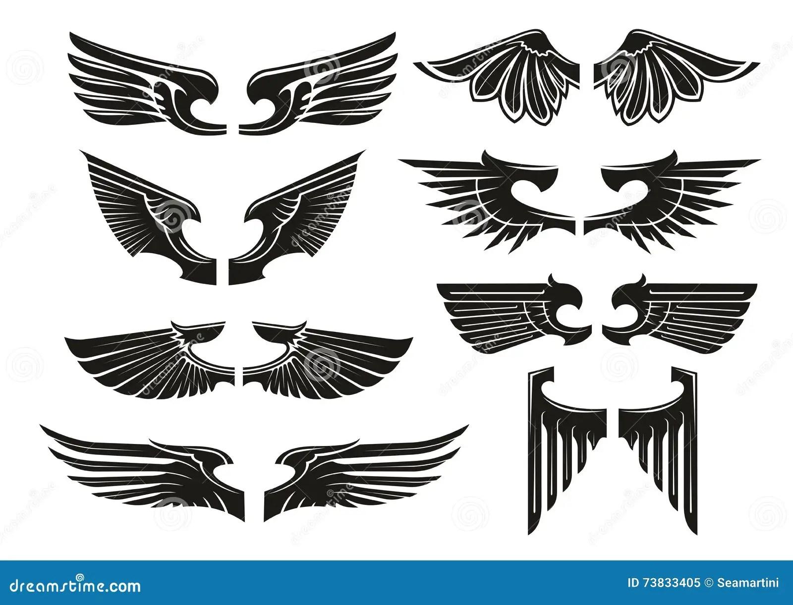 Svarta Symboler For Spridda Heraldiska Vingar Vektor Illustrationer