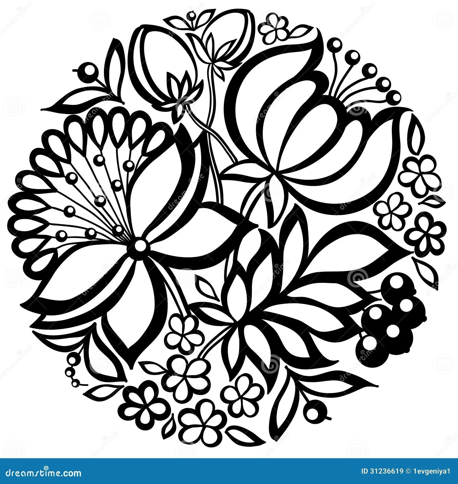 Svartvit Blom Ordning I Formen Av En Cirkel Vektor